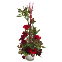 High red flower arrangement