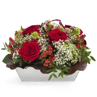 Low red flower arrangement